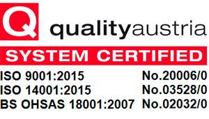 Quality Austria system certified